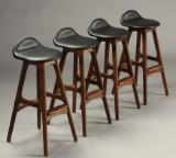 Erik Buch. Fire barstole, valnøddetræ (4)