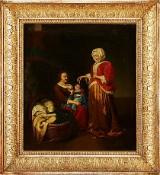 Kvinnor och barn oljemålning