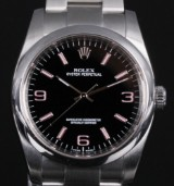 Rolex 'Oyster Pertpetual'. Men's watch, steel with black/pink dial, c. 2010