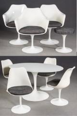 Eero Saarinen für Knoll International, Tisch / Esstisch/ Loungegruppe mit Stühlen und Hocker (9)