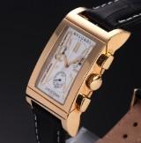 Bvlgari 'Rettangolo'. Men's chronograph, 18 kt. gold, with white dial, certificate 2013