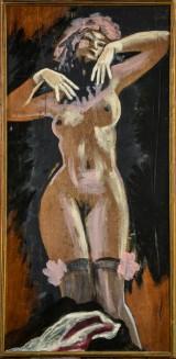 Lars Helweg, akryl på plade, Striptease danserinde