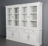 Two-section glass cabinet, antiqued paint