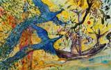 Hans Oldau Krull. 'Påfugleflugt fra Fåborg', acrylic on canvas