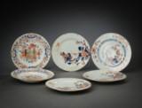 Seks Kien Lung tallerkner, Kina 1735-1796 (6)