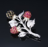 Vintage brooch, blackberry twig with diamonds, rubies and onyx, total approx. 1.60 ct. 20th century-second half