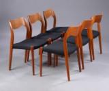 N.O. Møller. Sæt på seks stole, teak, model 71 (6)