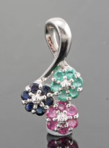 Emerald, sapphire and ruby pendant