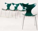 Arne Jacobsen, fire stabelstole, Mågen, model 3108 fremstillet hos Fritz Hansen (4)
