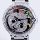 Cartier 'Ballon Bleu'. Unisex watch, steel with diamonds and enamel, c. 2013