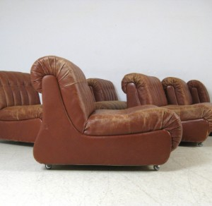 Lounge sofa sitzelemente der 1960 70er jahre in leder 7 for 70 er jahre couch