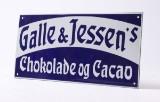Emaljeskilt. Galle & Jessens Chokolade og Kakao