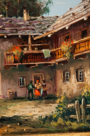 ldre billedkunst bruno krauel 39 postkutsche im alpenvorland 39 lgem lde 12 x. Black Bedroom Furniture Sets. Home Design Ideas
