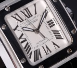 Cartier 'Santos 100'. Mid-size watch, steel with pale dial, c. 2005/6