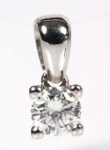 Diamantvedhæng, 14 kt. hvidguld ca. 0.30 ct.