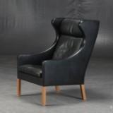 Børge Mogensen. Øreklapstol, model 2204, sort læder