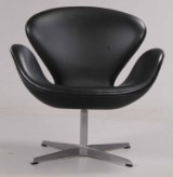 Arne Jacobsen. 'The Swan', lounge chair, model 3320, black leather