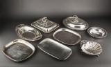 Samling af sølvplet. To terriner, fade og skåle (8)
