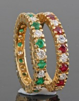 Diamond twin emerald and ruby ring in 18kt approx. 1.44ct (2)