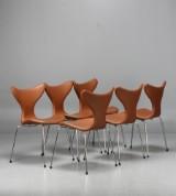 Arne Jacobsen, Mågen/Måsen, modell 3108, 6 st, brunt läder (6)