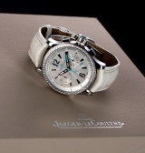 Jaeger-LeCoultre 'Master Compressor Chronograph'. Ladies watch, steel, with diamond bezel - box + certificate 2008