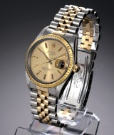 Rolex 'Date' men's watch, 18 kt. gold and steel, champagne-coloured dial, c. 1989