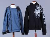 Blå cardigan samt sort hoodie hættetrøje. Str. L (2)