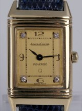 Jaeger-LeCoultre 'Reverso Lady'. Vintage ladies watch, 18 kt. gold, with diamond dial