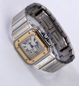 Cartier 'Santos Chronoflex'. Unisex watch, 18 kt. gold and steel with chronograph, c. 2000