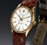 Vintage Rolex Oyster Perpetual men's watch, 18 kt. gold, white dial, c. 1960