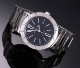 Bvlgari. Men's watch, steel with black dial with date, 2000s