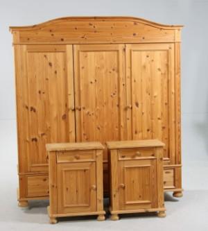 Lamin møbler, alliance. klædeskab samt natskabe af fyrretræ(3)