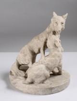 Skulptur, alabaster, hunder, höjd 25 cm