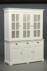 To-delt vitrineskab, hvid antikbemalet