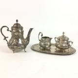 Silbernes Tee-/Mokkaservice im Stil des Rokoko (4)