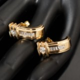 Ear studs (2) in 750/- gold with diamonds, approx. 0.90 ct