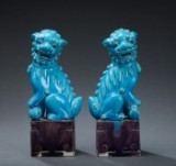 Et par kinesiske fohunde af porcelæn, 1900-tallet (2)