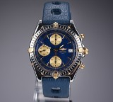 Breitling Chronomat men's watch, 18 kt. gold and steel, blue dial, 1990's