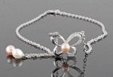 Fresh water pearl necklace with zirconium