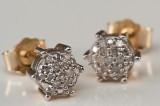 Ørestikkere af 9 kt. guld med diamanter ca. 0,26 ct.