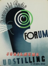Plakat, 'Danmarks Radio Jubilæums Udstilling', litografi, 1950