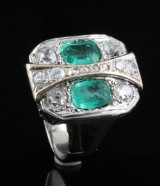 18kt Art Deco diamond and emerald ring.