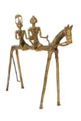Skulptur. Hest med to ryttere, Messing, 38 x 56 cm.
