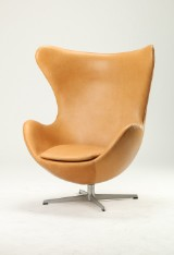 Arne Jacobsen. Lounge chair, The Egg, new upholstery with leather