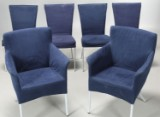 4 spisestole og 2 armstole i blåt alcantara. (6)