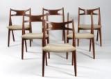 Hans J. Wegner. Six chairs, teak, Sawhorse Chair, model CH-29 (6)