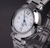 Cartier 'Pasha'. Unisex watch, steel, with white dial with date