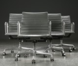 Charles Eames. Four office chairs, Aluminium Group Conference series (4)