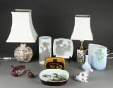 Royal Copenhagen, Bing & Grøndahl, Gustavsberg, Rosenthal m.fl. En samling figurer, lamper og vaser (11)