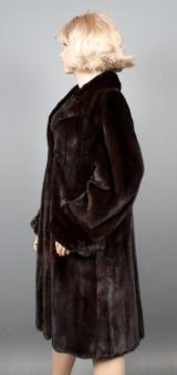 Saga Mink Royal. Dark mahogany mink coat, A-line, size approx. 42-44